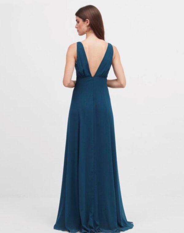 vestido largo erica azul canard
