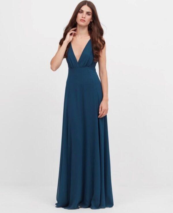 vestido largo erica azul canard frontal