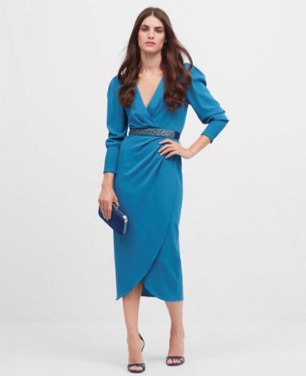 Vestido corto zoe azul frontal